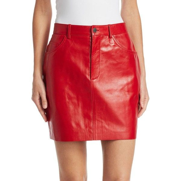 VETEMENTS Leather Mini Skirt (98,430 PHP) ❤ liked on Polyvore featuring skirts, mini skirts, red leather skirt, real leather mini skirt, zip front skirt, leather mini skirt and red mini skirt