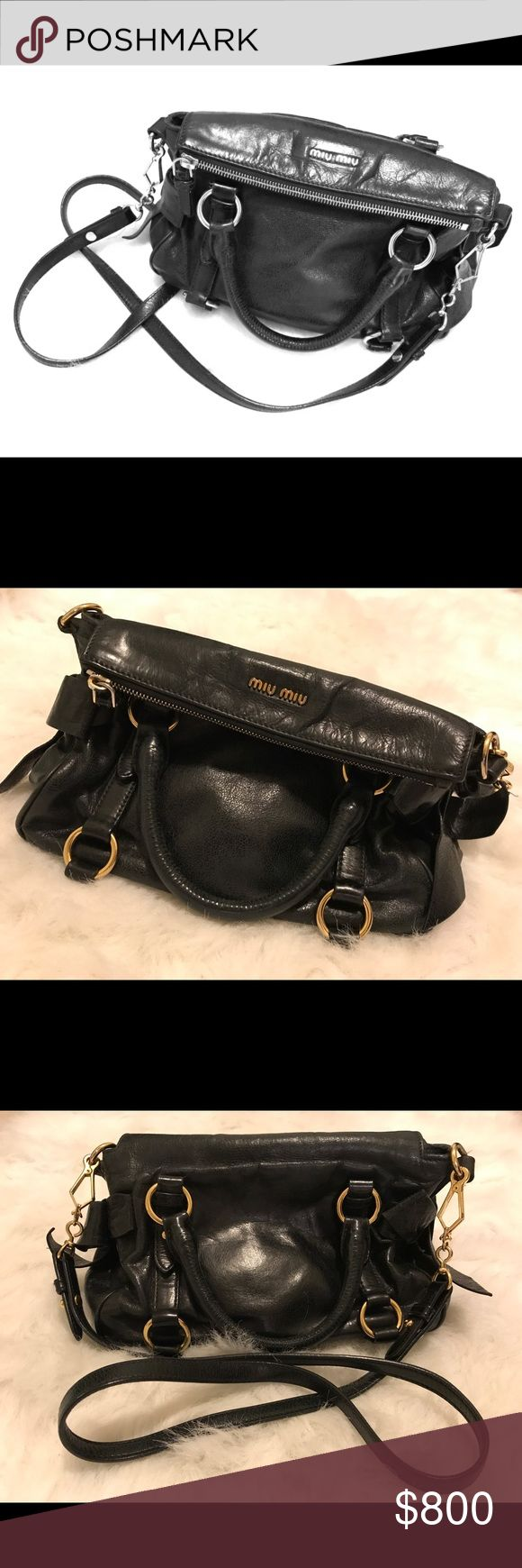 MIU MIU Black Medium Fold-Over Purse MIU MIU BLACK FOLD-OVER LEATHER SATCHEL/SHOULDER BAG/CROSSBODY PURSE - 100% Authentic - Removable straps for versatility - dust bag included - Please see photos and reach out with questions. Thank you! Miu Miu Bags Shoulder Bags