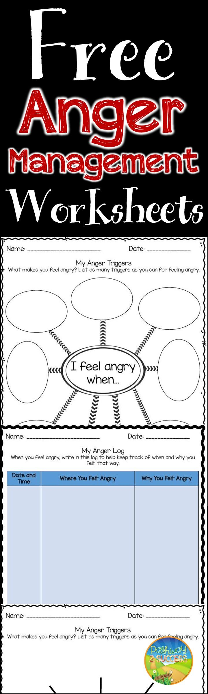 FREE worksheets for anger management skills