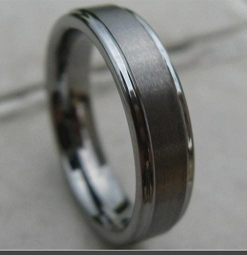 Mens Tungsten Wedding Bands - This looks like Alex's ring!:
