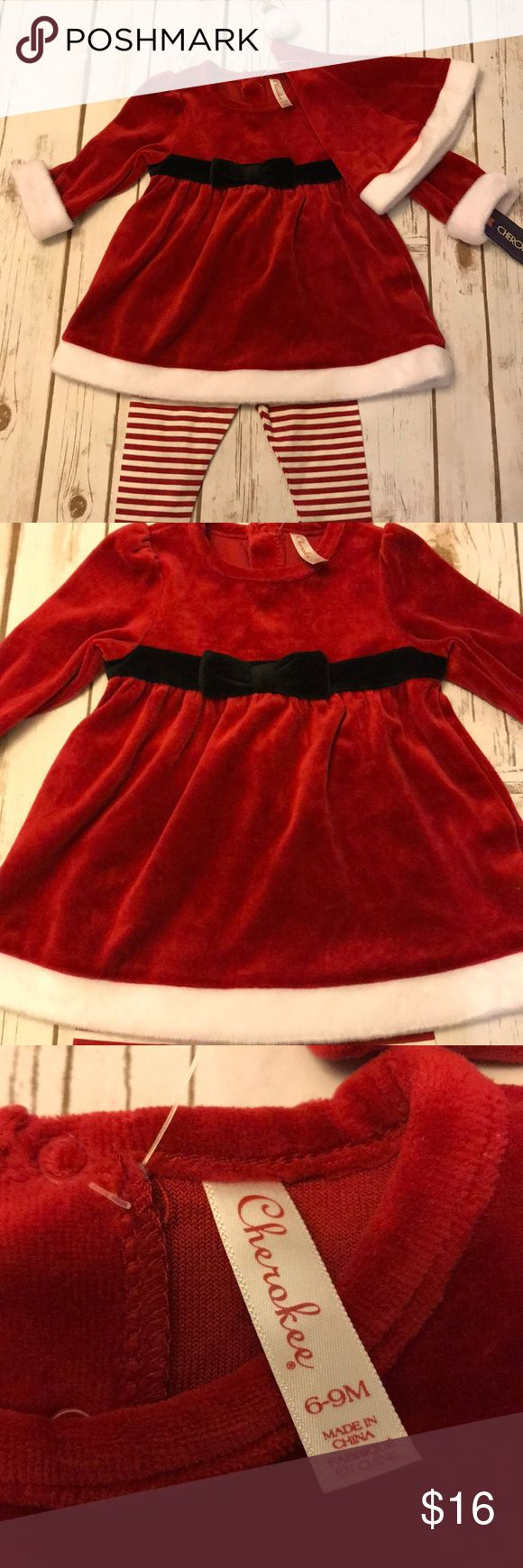 Baby Girl Cherokee Brand Mrs Clause Christmas Set NWT! Cherokee brand sized 6-9 months per tags. See last photo of tag for recommended size of baby for 6-9 month sizing. Mrs Clause Holiday Dress and hat are a velour/Velvet type material with matching white and red striped leggings. Dress has snap closure at back neck area of dress. Smoke free home. Cherokee Matching Sets