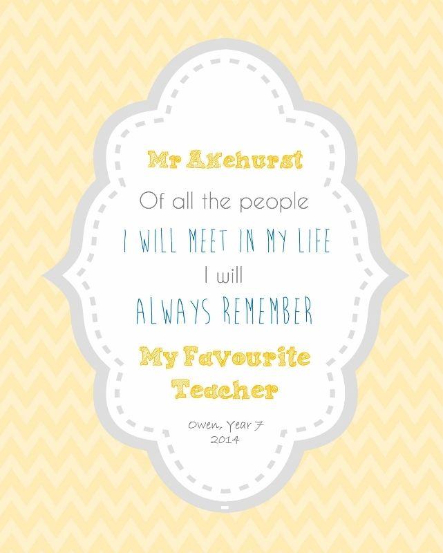 "Always Remember My Favourite Teacher Print (8""x10"") - Almond Tree Designs"