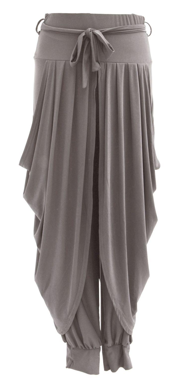 Ladies Womens Lagenlook Layering Dhoti Tie Drape Pleated Loose Baggy Boho Harem Ali Baba Trouser Pants Leggings Joggers (One Size, Burgundy): Amazon.co.uk: Clothing