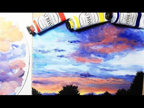 How To Paint A Sunset Evening Sky | Oil Painting Tutorial - YouTube