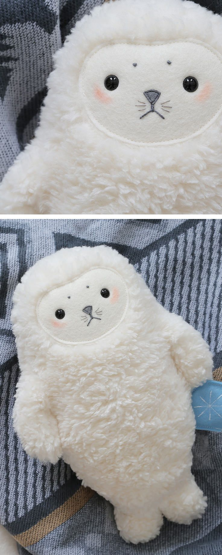 Was schenkt man Kindern: Wie wär's mit der weichen Kuscheltier Robbe unter dem #weihnachtsbaum / soft toy seal as #christmasgift for kids made by Petit Panda  via DaWanda.com