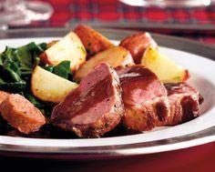 Boned Rack of Lamb with Bordelaise Sauce & Lamb Sausages