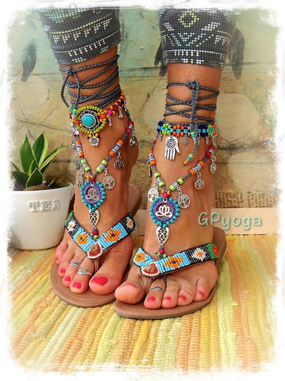 HAPPY Lotus BAREFOOT sandals foot jewelry Tree Lotus Sun by GPyoga