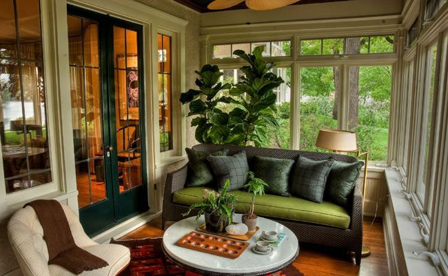 Images window treatments enclosed porch with large windows for Four season porch plans