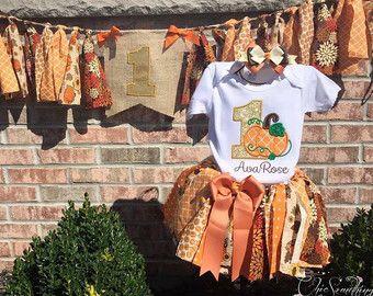 Pumpkin tutu, fabric tutu, first birthday pumpkin tutu, fall birthday tutu, pumpkin shirt, orange gold pumpkin, thanksgiving birthday UD