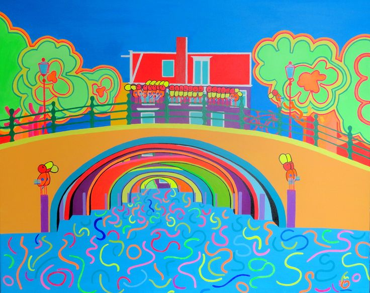 """The painting is inspired on the """"seven bridges"""" in Amsterdam and it reveals the line patterns of the bridges, the water and the trees at the same time. To emphasis mentioned line patterns, colors are made deliberately brighter and must deliver that bright feeling."""