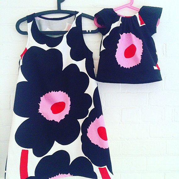Marimekko Unikko Dress Pink Red Black White Mother by karlacola