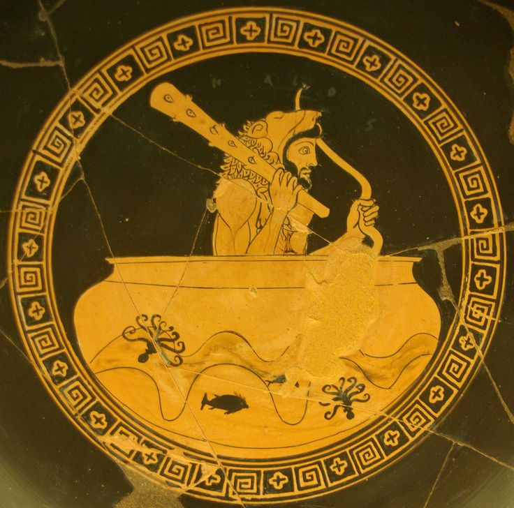 Red-figure kylix, Greek, dated around 480 BC.