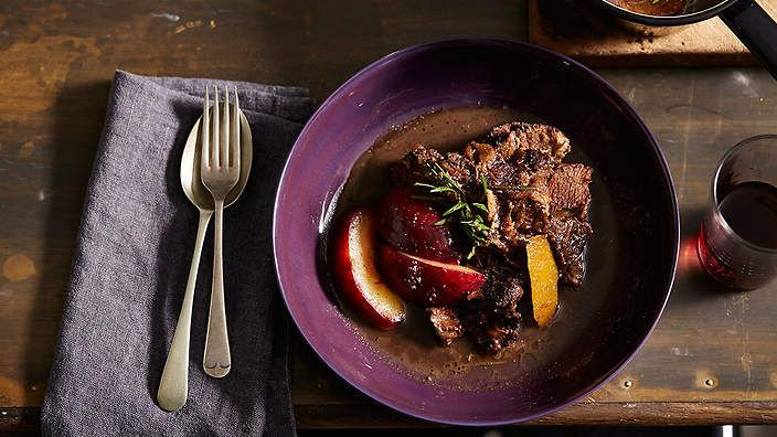 Braised beef cheek with Santa Rosa plum, rosemary and orange | I love cooking with beef cheek, it's such a rich and succulent cut that is perfect for slow cooking and matches nicely with the slightly tart flavour of these type of plums. It's an easy dish to prepare that relies mainly on simply being left alone overnight, put in the oven and forgotten about until you are hungry for dinner. This type of dish is very happy served with a side of soft creamy polenta.