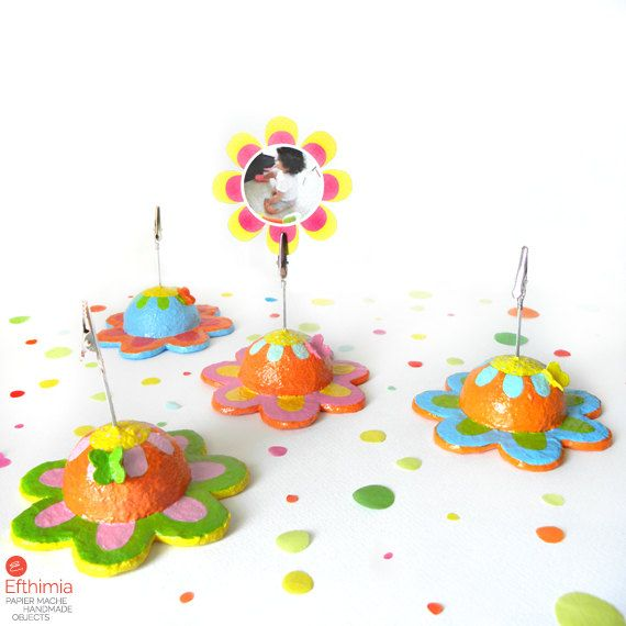 Papier mache flower photo clip holdercard by EfthimiaPapierMache