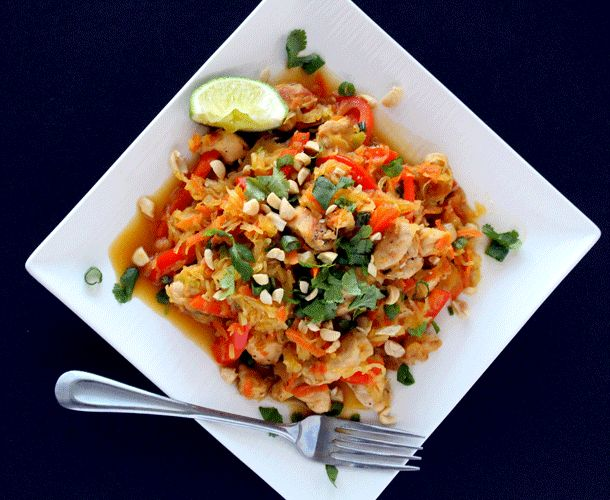You don't have to give up your favorite dishes due to food sensitivities! This Spaghetti Squash Pad Thai by The Wheatless Kitchen keeps all of the flavor and comfort of the traditional dish while u...