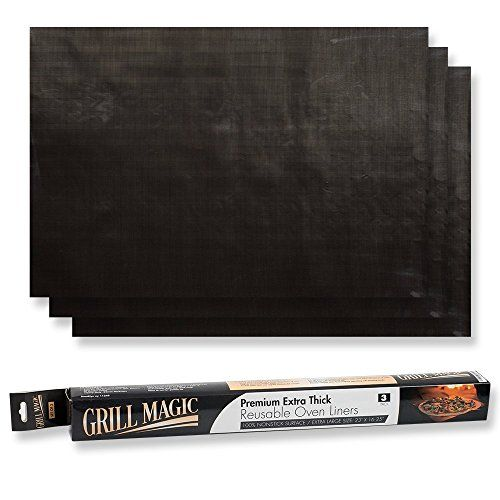 Grill Magic NonStick Oven Liners 3Piece Set  Thick Heat Resistant Fiberglass Mat  Easy to Clean  Reduce Spills StuckOn Foods and Clean Up  Kitchen Friendly Cooking AccessoryFDA aproved * Details can be found by clicking on the image.