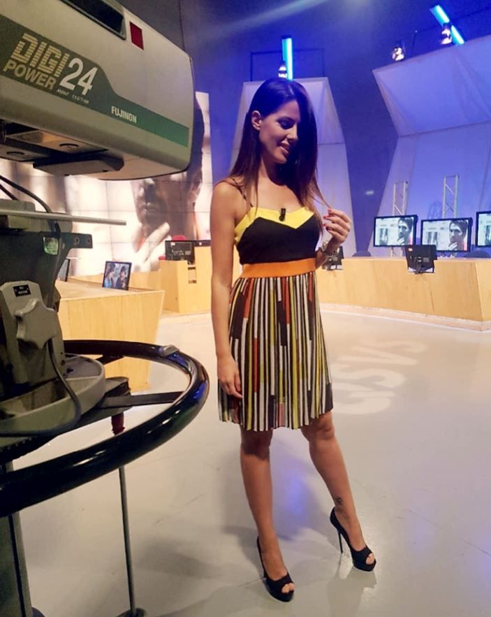#Hanitapress #SS17  Nathalie Goitom in #totallook Hanita Spring Summer 2017 ☀  durante QSVS - Qui Studio a Voi Stadio - nell'ultimo weekend calcistico ⚽