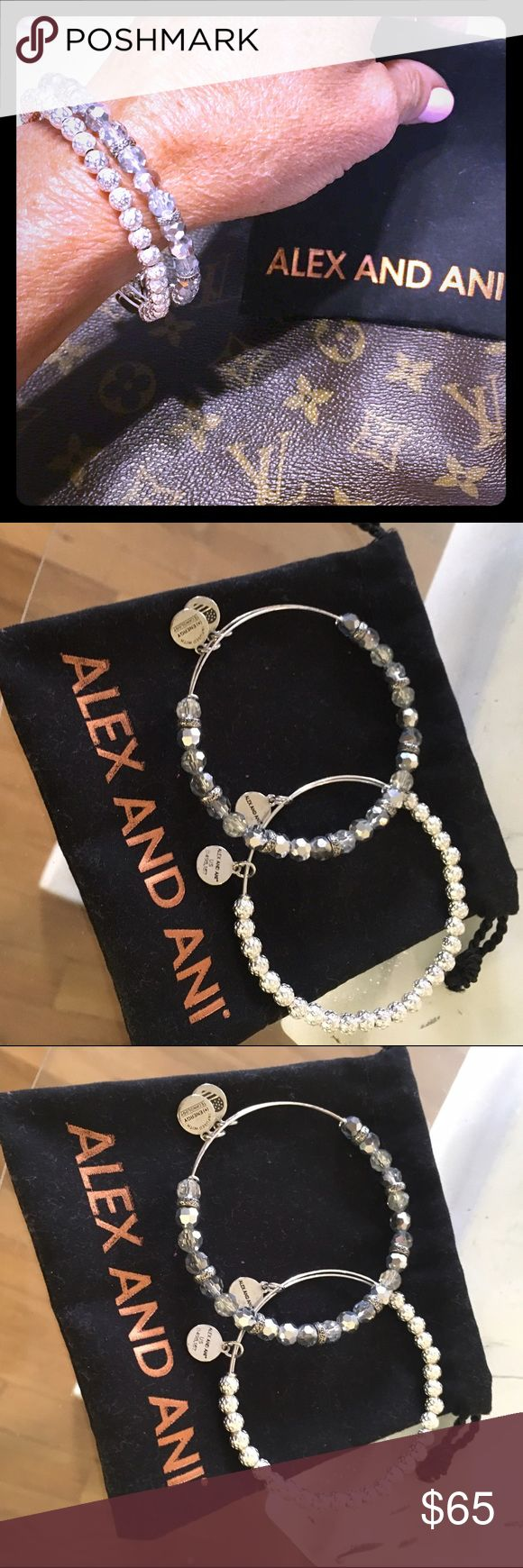 Alex and Ani vintage rare Swarovski bracelets Alex and Ani rare vintage bracelets with Alex and Ani pouch. Both silver one is with crystallize beads and the other with Swarovski crystal beads. Both adjust to your hands. 2 rare bracelets and pouch retails 60 each. Pay one price for both. Sorry selling them together. Bundle and save 15% off Alex & Ani Jewelry Bracelets
