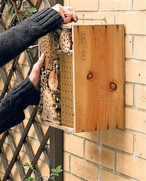 Bee Hotel. We're busy making one of these for the garden.  I have several small bee houses but fancied a really large one.  This will attract solitary mason and leaf-cutter bees as well as other beneficial insects many of which help with pollination throughout the garden.