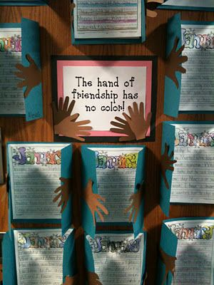 "I like this quote for an MLK bulletin board. ""The hand of friendship has no color."""