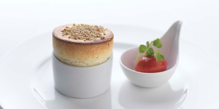 Cranachan soufflé | a take on the traditional Scottish dessert made from whipped cream, whisky, honey and fresh raspberries with toasted oatmeal | Adam Stokes