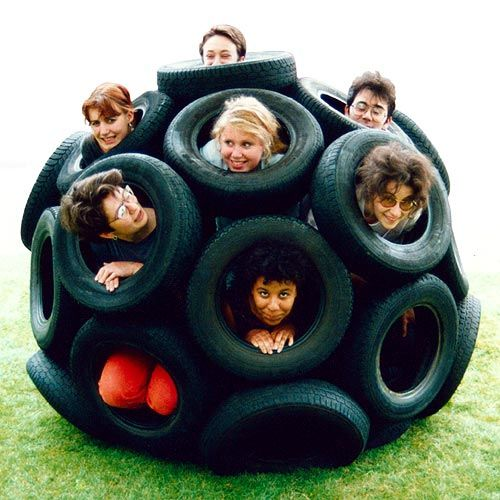 32 car tires bolted together to form an amazing outside toy for the kids (and pets). Part of Nick Sayers' Geodesic Spheres project.