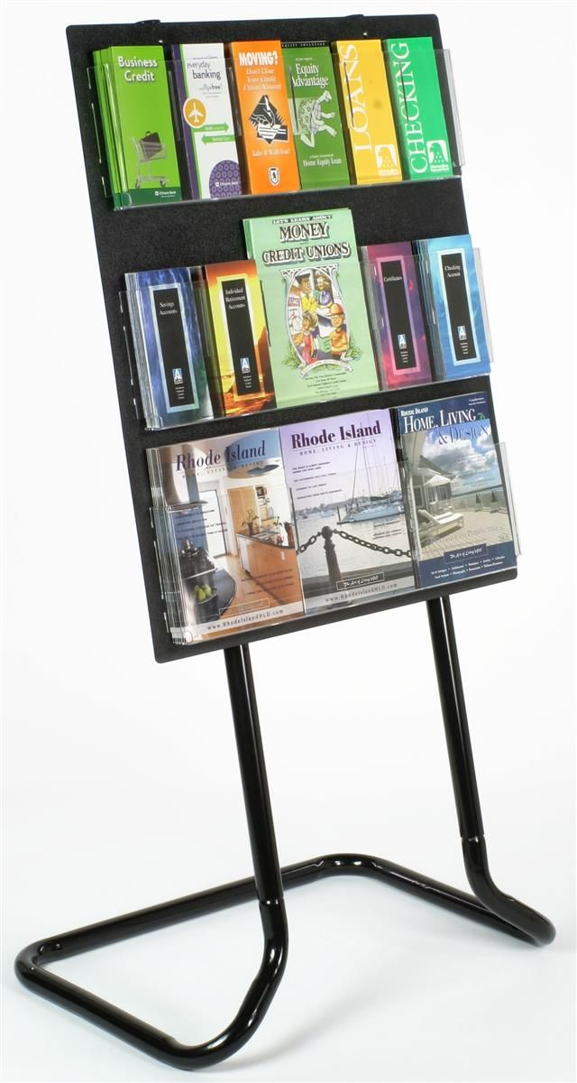 3-Tiered Acrylic Literature Stand with 18 Adjustable Pockets - Black