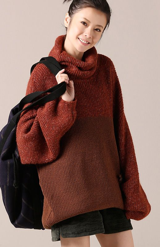 ba28eb95588 Women Sweater dress Beautiful high neck dark red oversized knitwear ...