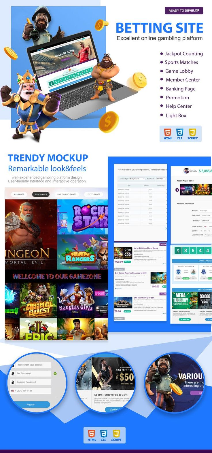 Trendy Gambling and Betting Site with Games Section