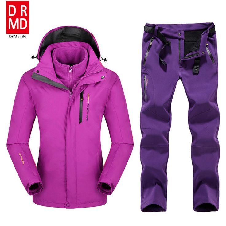 Plus Size Mountain Skiing Ski-wear Waterproof Hiking Outdoor jacket Snowboard jacket Ski suit Women Large Size Snow jackets