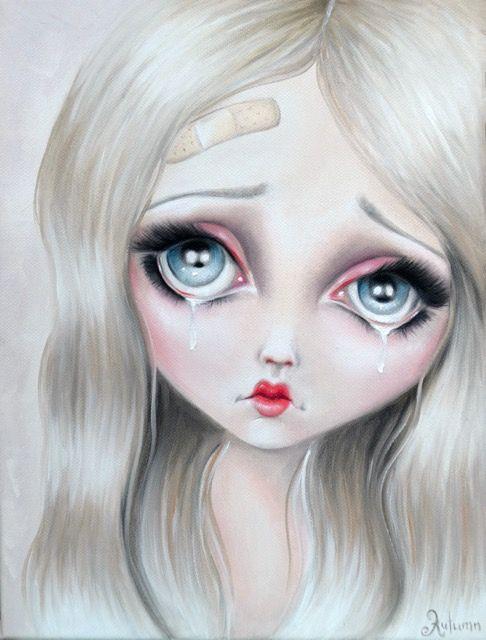 Hurt, Crying, tears, sad girl, cute, big eyes, Art, Magic, Artist Autumn