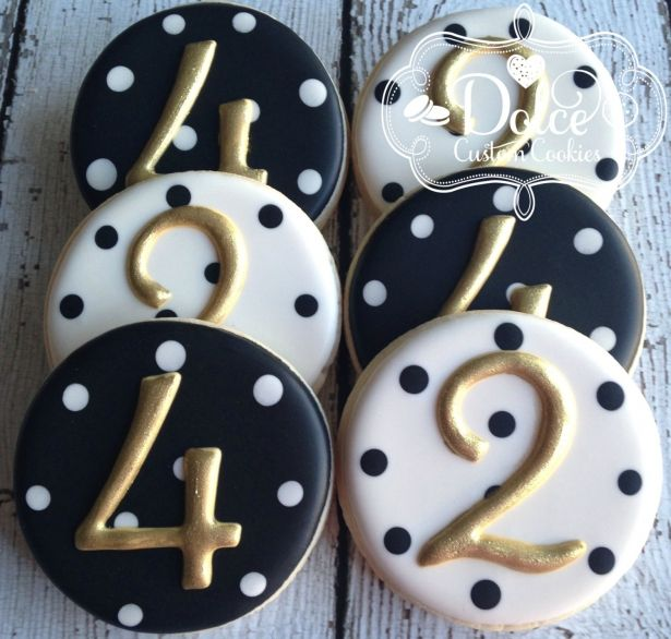 Birthday Number Elegant Black White Gold Cookies - 1 Dozen (12 Pcs) by Dolce Custom Cookies on Gourmly