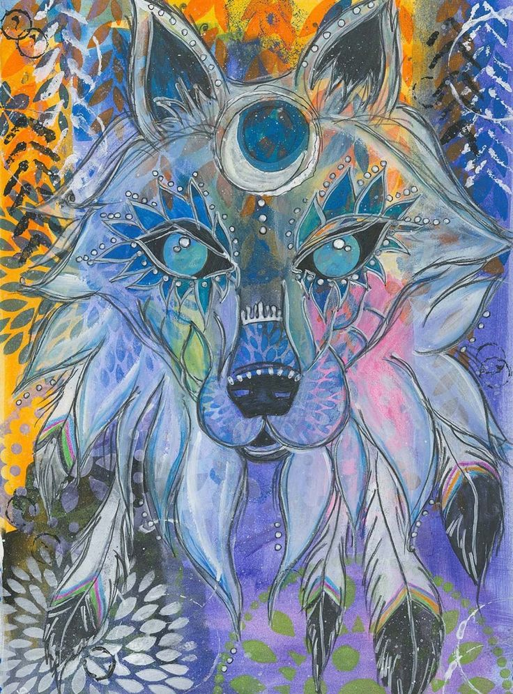 ~WOLF ANIMAL GUIDE~  Pathfinder to Inner Strength, Faithfulness & Intuition  Mixed Media Painting