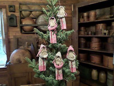 Five Very Primitive Little Patcwork Quilt Santa Claus Ornaments