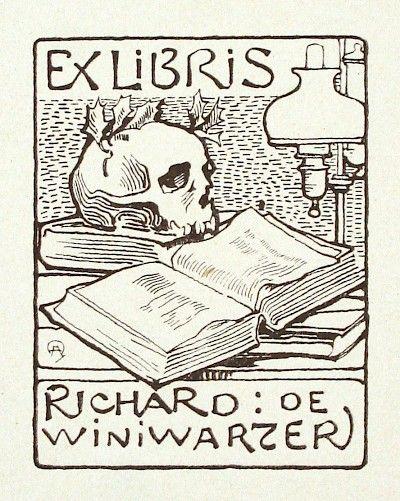 EX LIBRIS: Antique Book Plates : Skull and Book. Ex Libris for Richard de Winiwarzer at Davidson Galleries