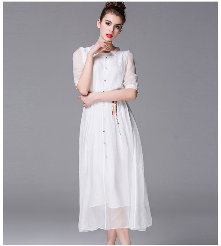Cool New European 100 Silk Dress For Women Is Natural Silk White Dress Maxi Summer 2017 Fashion Vestidos Single Breasted Dresses Work