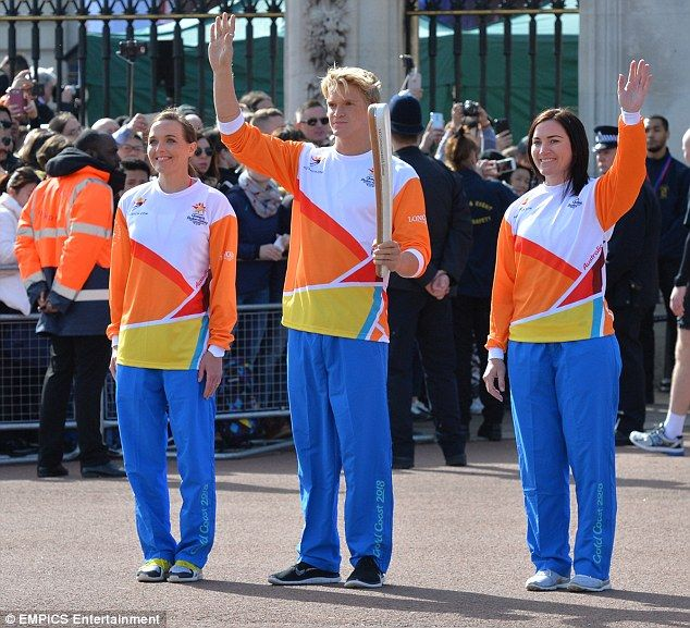 Victoria Pendleton, Cody Simpson and Anna Meares help to launch theQueen's Baton Relay on a sunny day at Buckingham Palace
