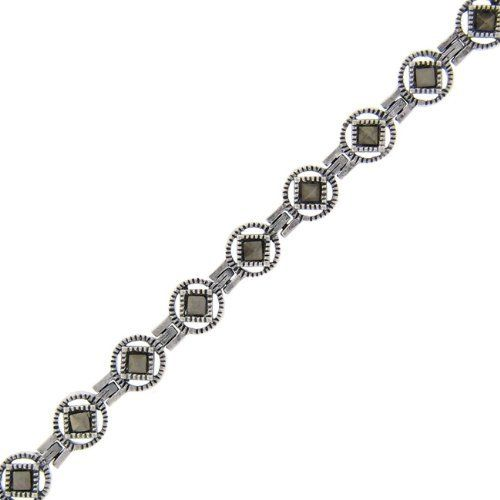 Sterling Silver Marcasite Circle Square Bracelet LEAH HANNA. $29.99. Save 50% Off!