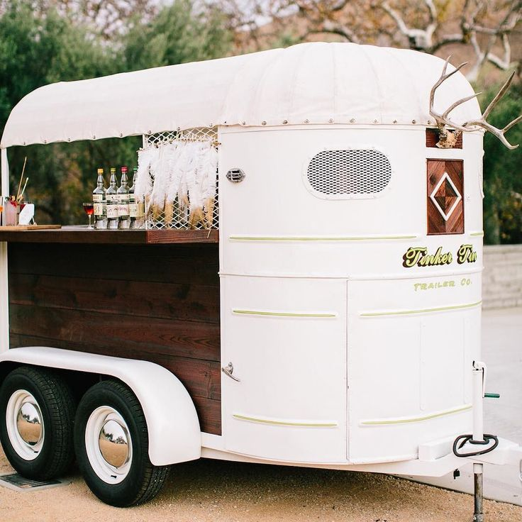 Our 1948 Trail King horse trailer bar conversion is finally up on the blog! Go to Tinkertin.com to see before and after photos of it! We couldn't have done this restoration without the talented @ayyyitsmikey and his amazing metal work! Hand lettered logo and pin striping on the front of trailer by our good friend @luckybdesign to!!  @mirellecarmichaelphoto #horsetrailerbar #ittakesavillage #tinkertin #vintagetrailer by tinkertintrailerco