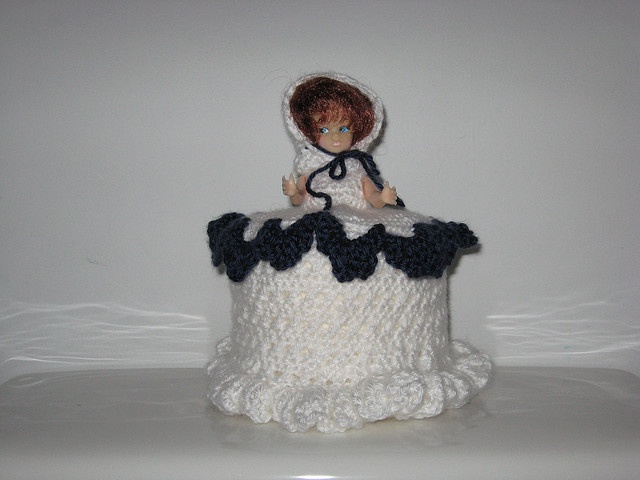 My Aunt Gladys had these in her bathroom. Doll toliet paper covers were like trainwrecks when I was small: I was mildly repulsed, but I couldn't look away! And they also reminded me of the doll birthday cake (see other pin....)