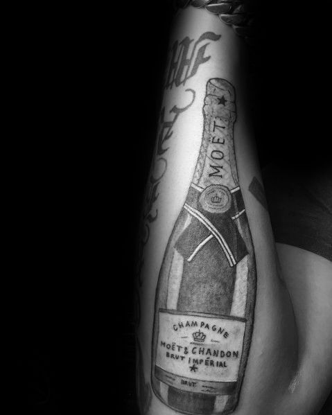 40 Champagne Tattoo Ideas For Men Bottle And Glass Designs