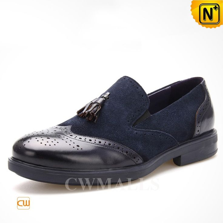 CWMALLS® Mens Leather Tassel Brogue Loafers CW716041 Stylish leather brogues loafers made of nubuck calfskin leather and smooth calfskin leather tone upper, leather lining. Classic men's tassel loafers in brogue details, slip on style, and comfort stacked heel. www.cwmalls.com PayPal Available (Price: $195.89) Email:sales@cwmalls.com