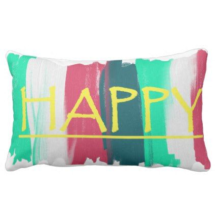 Happy Turquoise Pink Stripes Funky Cushion - decor gifts diy home & living cyo giftidea