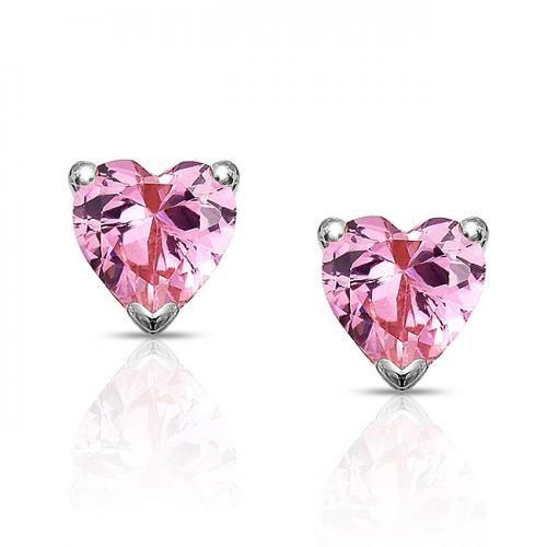 CZ Pink Sapphire Heart Stud Earrings 7mm