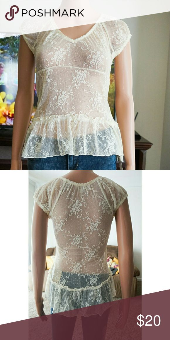 Guess See Through Blouse Size XS. NWOT. Guess Tops Blouses