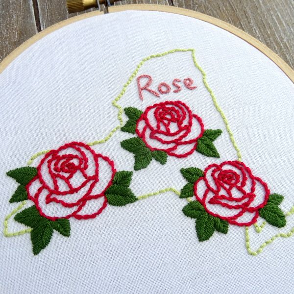 New York State Flower Hand Embroidery Pattern Red Rose Rose Embroidery Pattern Hand Embroidery Designs Hand Embroidery