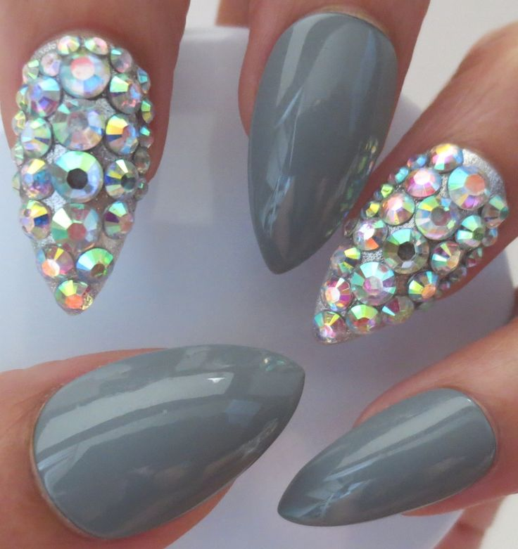 Light Gray Diamond Bling Stiletto Press On Nails Hot From Www