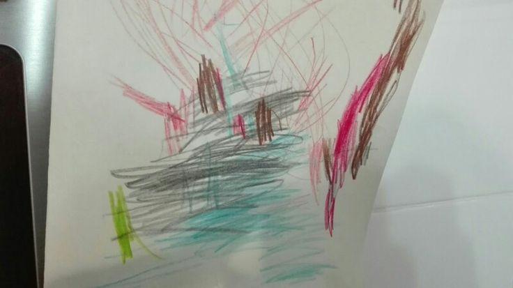 """Dibujo libre educación #infantil (3 años).""""Barco y cocodrilo del país de Nunca Jamás"""".#creatividad  #artística"""