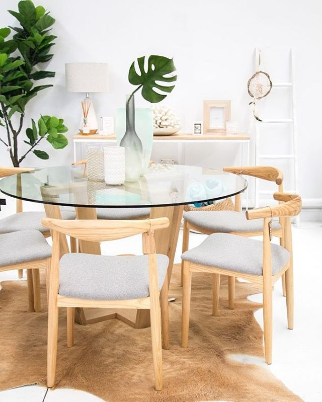 Simple colour palettes to create a restful space, that calms the soul // dining table $990, chairs $374 each, white vase $32.95, glass/wire vase $67.95, grey dipped vase $50, aqua glass vase $81.50. Create a space you love.