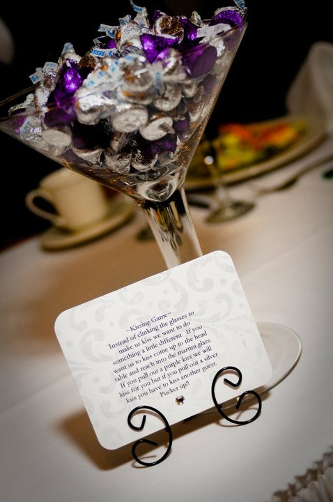 Wedding ~KISSING GAME~ Instead of clinking the glasses to make us kiss.  If you pick a purple kiss we kiss and if you pick a silver kiss...YOU have to kiss another guest.  So get ready to Pucker Up!